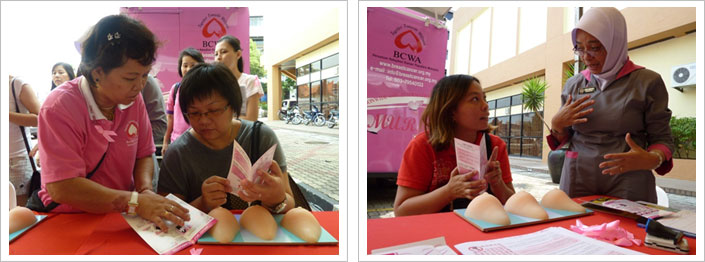 A Trained BCWA Volunteer and Nurse Educator engage in teaching the public about breast health